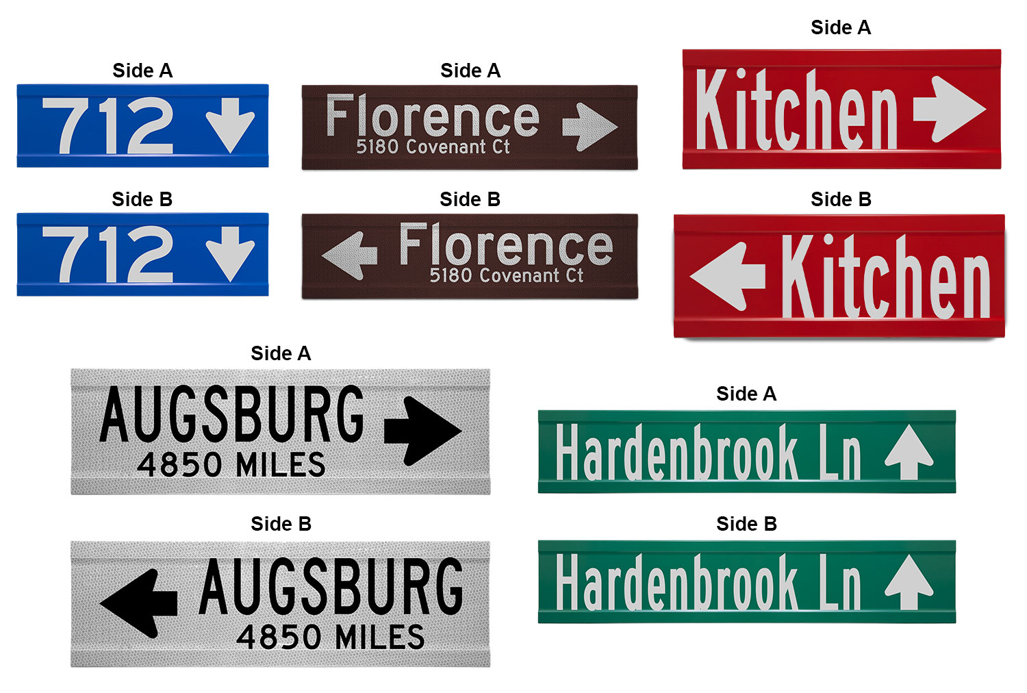 Samples of Printed Extruded Blade Signs with Directional Arrows