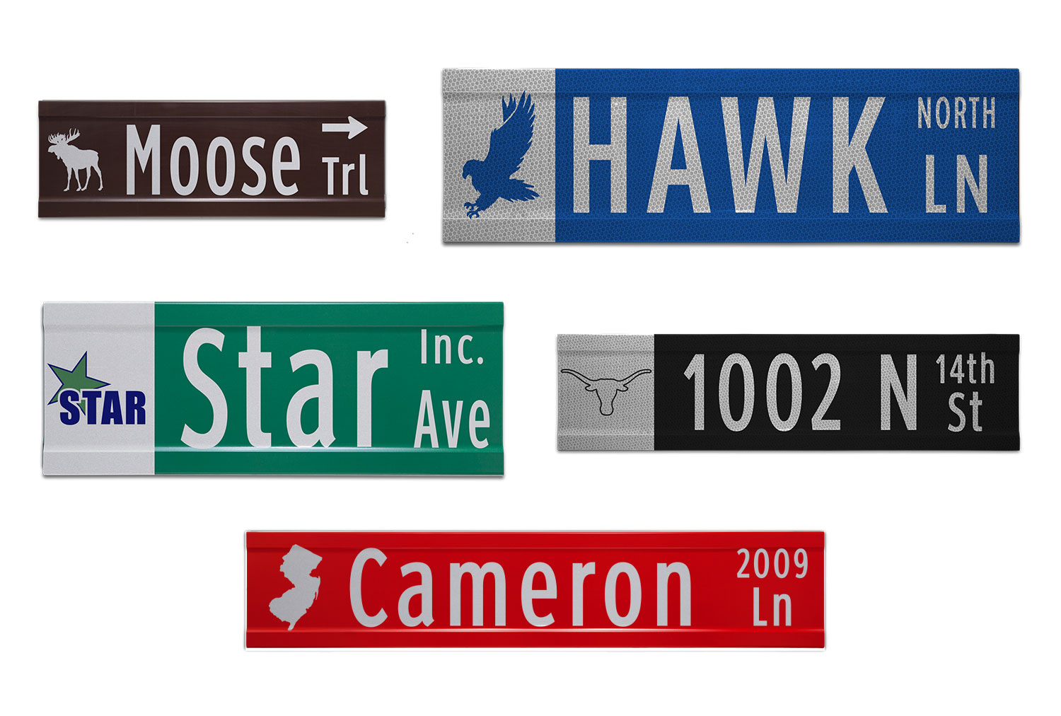Samples of Printed Extruded Blade Signs with Images and Street Numbers