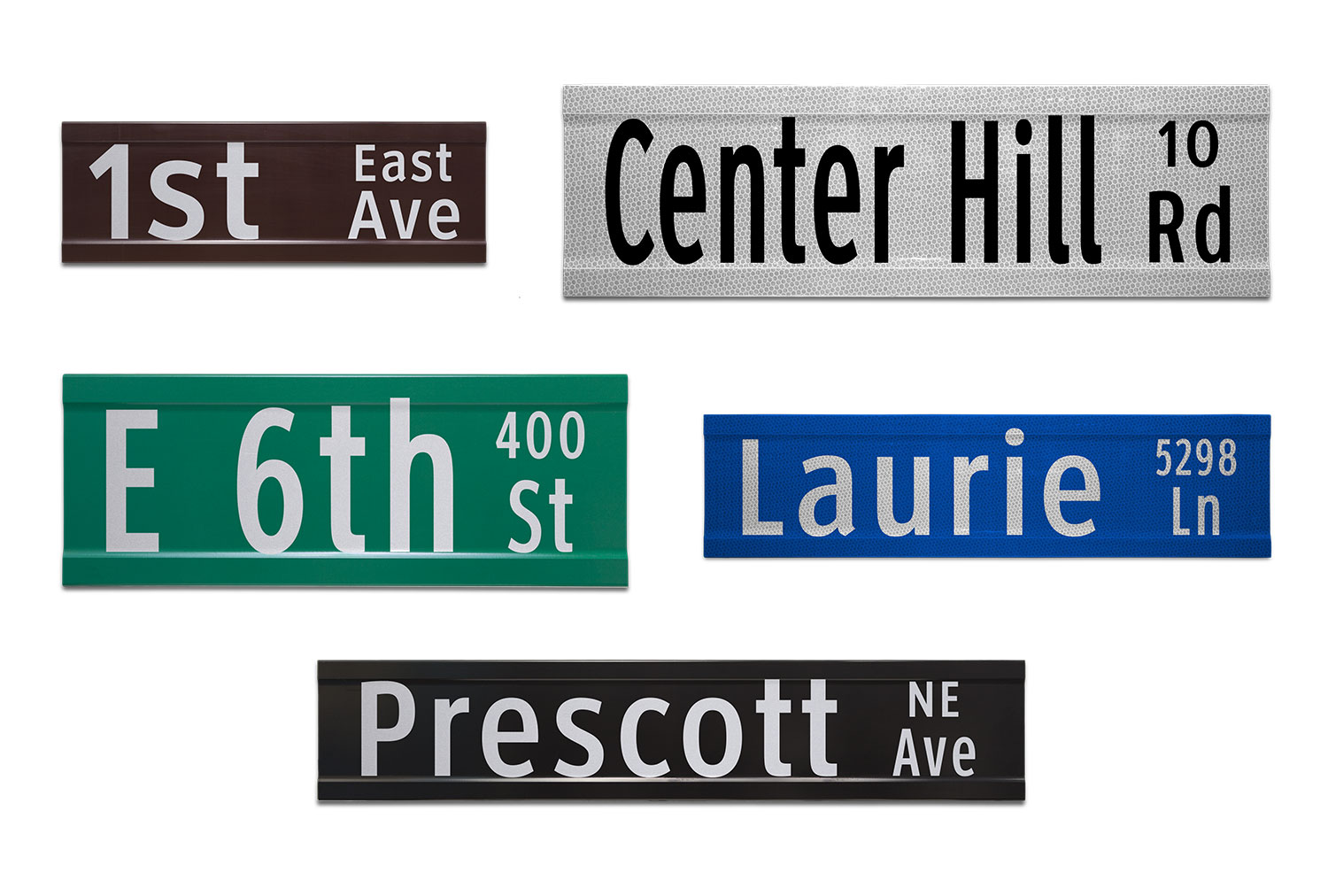 Samples of Printed Extruded Blade Signs with Street Numbers