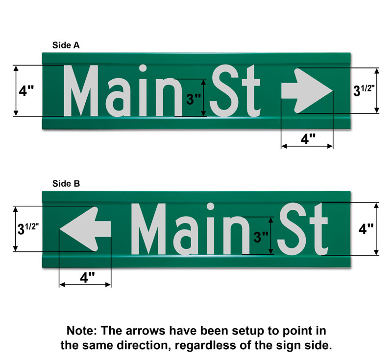 6″ Tall Extruded Blade Street Sign with Directional Arrow