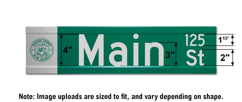 6″ Tall Street Sign with an Image and Street Numbers