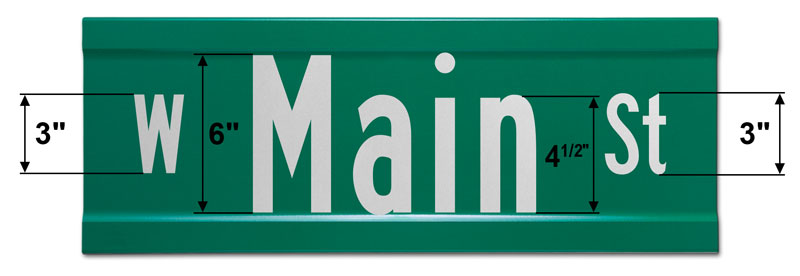 9″ Tall Extruded Street Sign