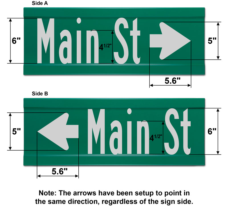 9″ Tall Extruded Blade Street Sign with Directional Arrow