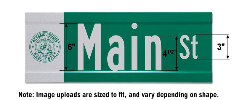 9″ Tall Extruded Blade Street Sign with Image