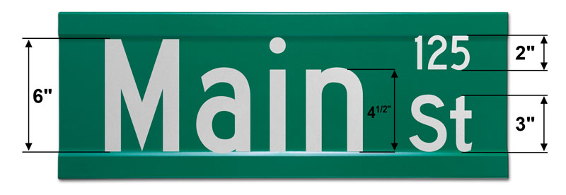 9″ Tall Street Sign with Street Numbers