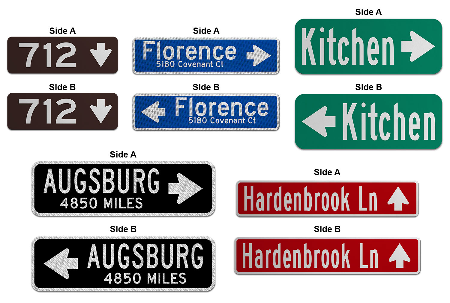 Samples of Printed Flat Blade Signs with Images and Street Numbers