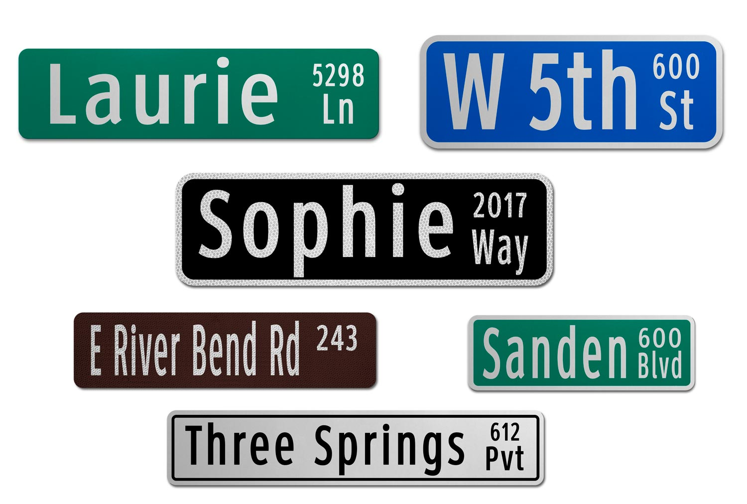 Samples of Printed Flat Blade Signs with Street Numbers