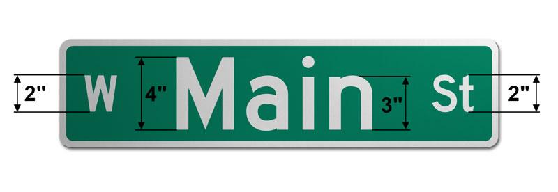 6″ Tall Street Sign
