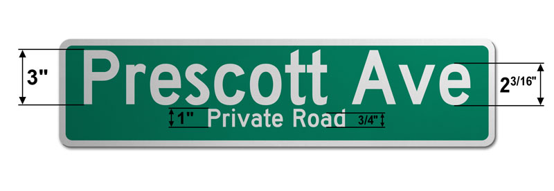 6″ Tall Street Sign with Two Lines of Text