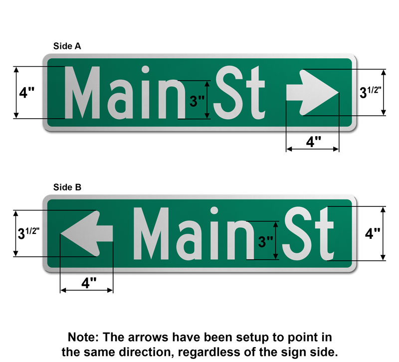 6″ Tall Street Sign with Directional Arrow