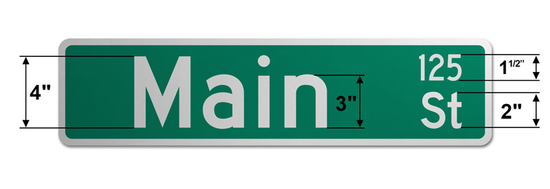 6″ Tall Street Sign with Numbers