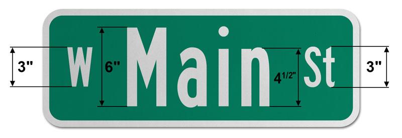 9″ Tall Street Sign