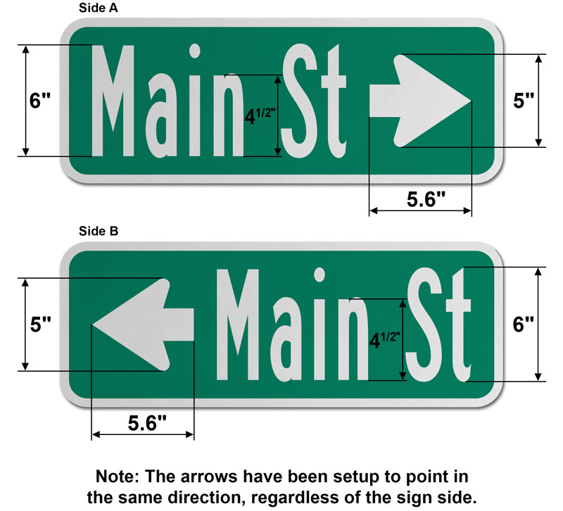 9″ Tall Street Sign with Directional Arrow