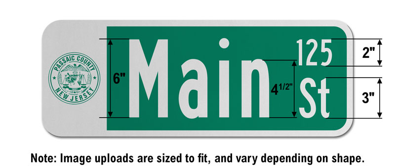 9″ Tall Street Sign with an Image and Street Numbers