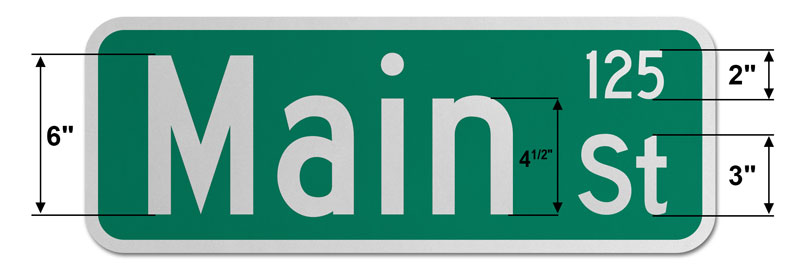 9″ Tall Street Sign with Numbers