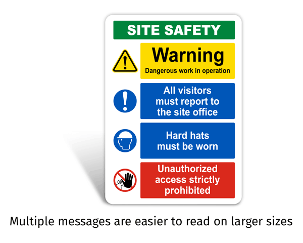 Site Safety Sign with Multiple Messages
