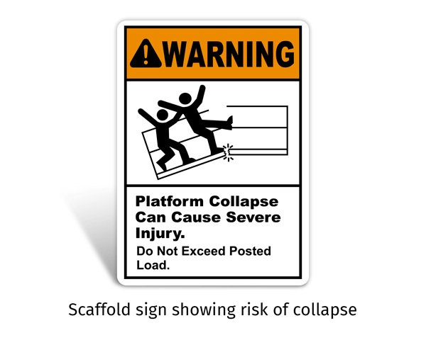 Platform Collapse Can Injure Sign
