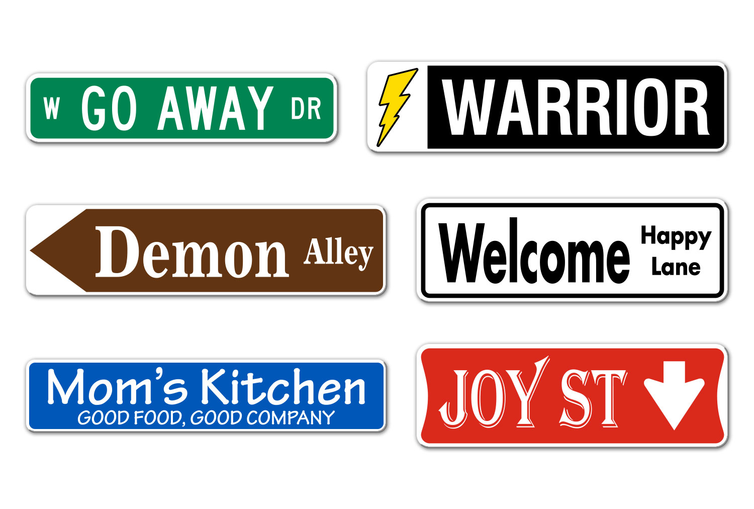 Samples of Printed Personalized Street Name Signs