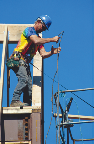 Man pulling scaffold cable