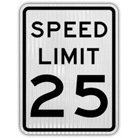 Speed Limit 25 MPH Sign;