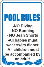 Custom pool rules sign f6938a for Pool design rules